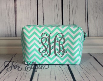 MINT Chevron Cosmetic Bag - Personalized or Monogrammed