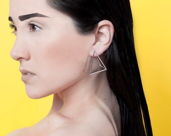 Modern Minimalist Sterling Silver Earring - Geometric Design - Contemporary -Handmade - 3d Printed - Triad Earring