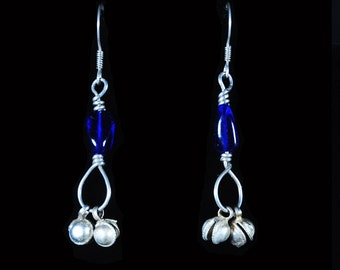 Earring Blue Glass with Bells
