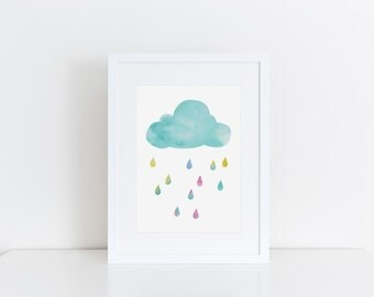 Nursery Wall Art Cloud Print Watercolour Art Raindrops Wall Decor Girls Room Wall Art Cloud Art Nursery Print New Baby Gift