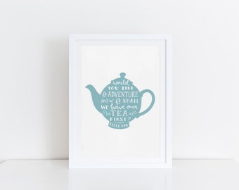 Tea Print Peter Pan Print J M Barrie Quote Teapot Print Adventure Quote Tea Quote Nursery Decor Blue Kitchen Wall Art Kitchen Print