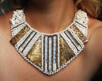 Kolisnyk Bijou beaded embroidery necklace with nature elements glass stone brass white jewelry unique ethnic african bib necklace