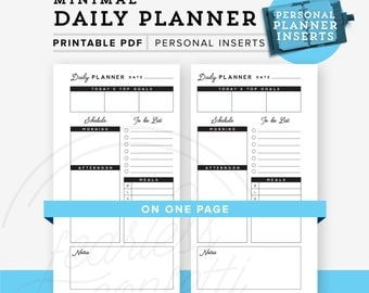 Daily Planner Personal Planner Printable, Personal planner inserts, Daily Planner printable, Personal Size, Minimal Planner INSTANT DOWNLOAD