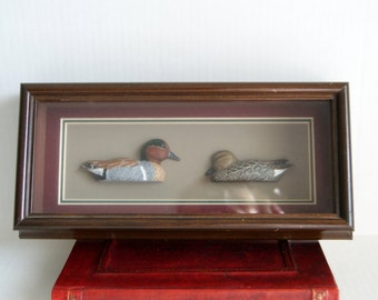 Hand painted miniature Ducks Signed/Numbered Shadowbox Frame