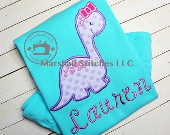 Girl's Dinosaur Birthday Shirt/ Girl's Dinosaur Applique Shirt/ Dinosaur Girl Shirt