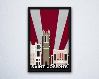 Saint Joseph's University Campus Poster ft. Barbelin Hall, Mandeville Hall, and Hagan Arena - Hawks
