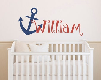 Personalized Anchor Name Wall Decal Boy- Anchor Nursery Wall Decal- Nautical Wall Decal Name Nursery Kids Boys Room Nursery Home Decor 009