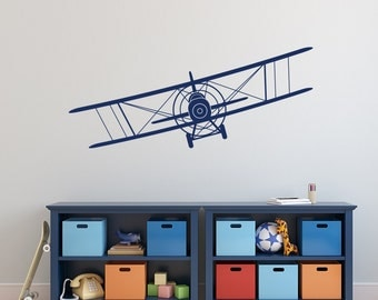 Superbe Biplane Wall Decal  Airplane Wall Decal  Boy Nursery Wall Decal  Boys Room  Wall