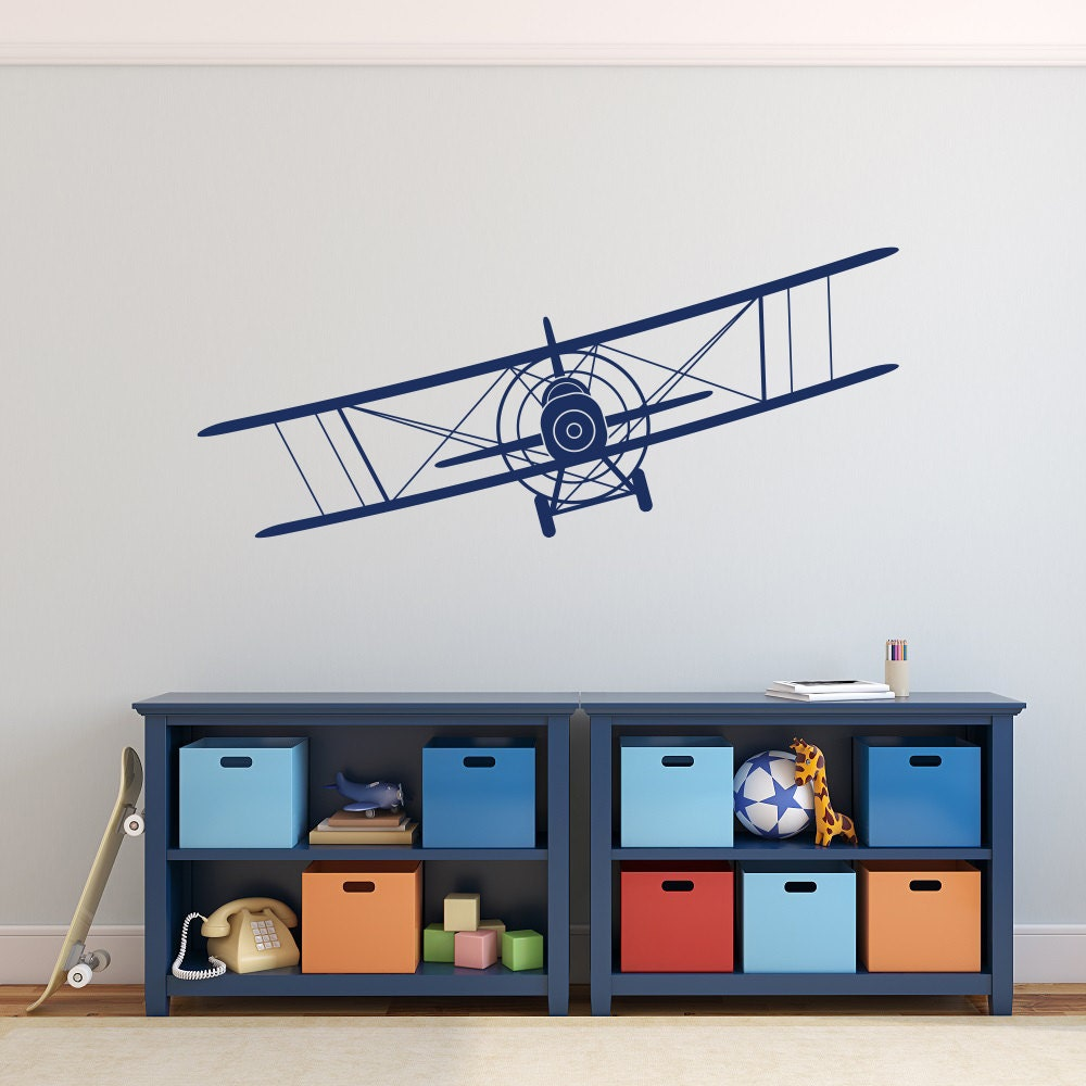 Biplane wall decal airplane wall decal boy nursery wall for Aeroplane wall mural