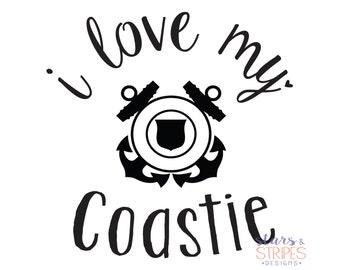 I Love My Coastie Decal. Coast Guard America Hero. Milso fiance girlfriend wife sister mom daughter. Homecoming Deployment Veteran.