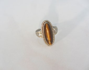 Sterling Silver Tigers Eye Ring by Navajo Artisit Jane Popovich Ring Size 4