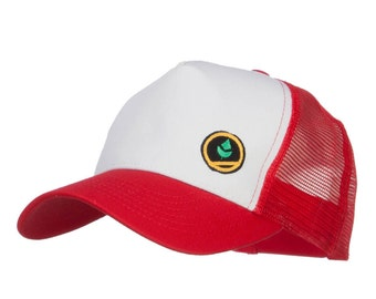 Trainer Red Poke Monster Embroidered Mesh Cap