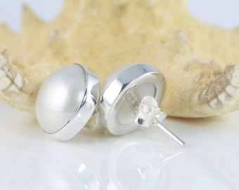 Sterling Silver, Natural Pearl Earrings, Simple White Pearl Post - #est58