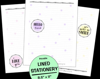 Printable Stationery, Letter Size, Printable Lined Stationery, Printable Journal Pages, Decorative Stationery, Note Paper, Polka Dots