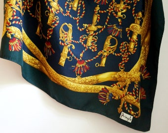Pringle of Scotland silk square scarf, dark green, navy blue, gold swords handles, ropes, tassels, vintage high quality fashion accessories
