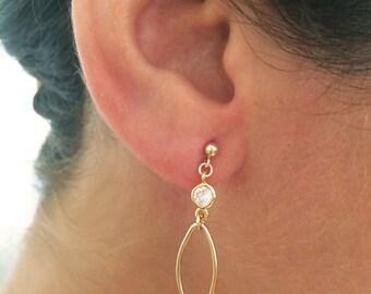 Long oval earrings, shiny earrings, gold plated earrings, long earrings, geometric earrings, dainty earrings, delicate earrings, gold oval