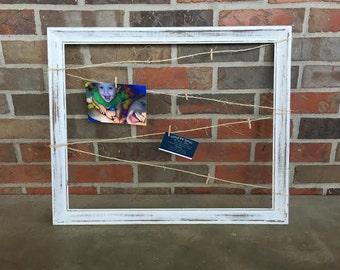 Rustic White Memo Board / Shabby Chic / Distressed / Message Board / Bulletin Board / Picture Board / Nursery / Home Decor / Office Decor