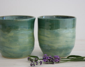 Pair of Wheel Thrown Stoneware Pottery Tumblers, Green Tea Cups or Wine glasses.  Pair of Green Yunomi