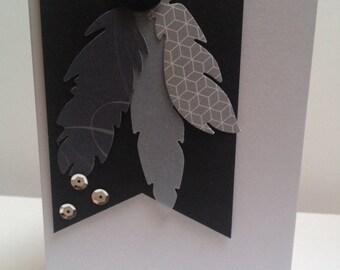 Black & Grey Feathers Birthday Card