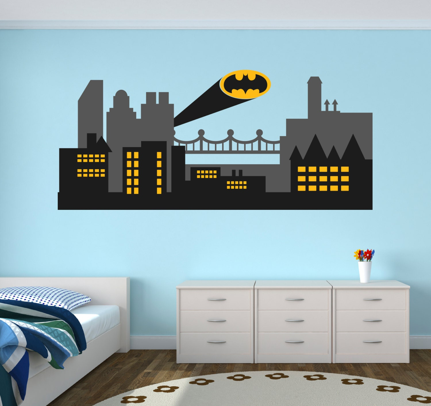 Gothic city wall decal batman gothic city skyline wall art zoom amipublicfo Images