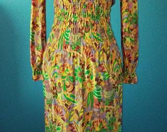 Groovy vintage psychadelia flower maxi dress