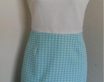 vintage 60s baby blue checkered go go dress