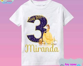 Belle Disney Princess shirt Belle Beauty & the Beast Printable Birthday Girl/ Belle shirt/ Dye sublimation tee/ shirt Personalized/6