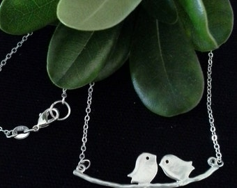 2 Love Birds on Sterling Silver Chain