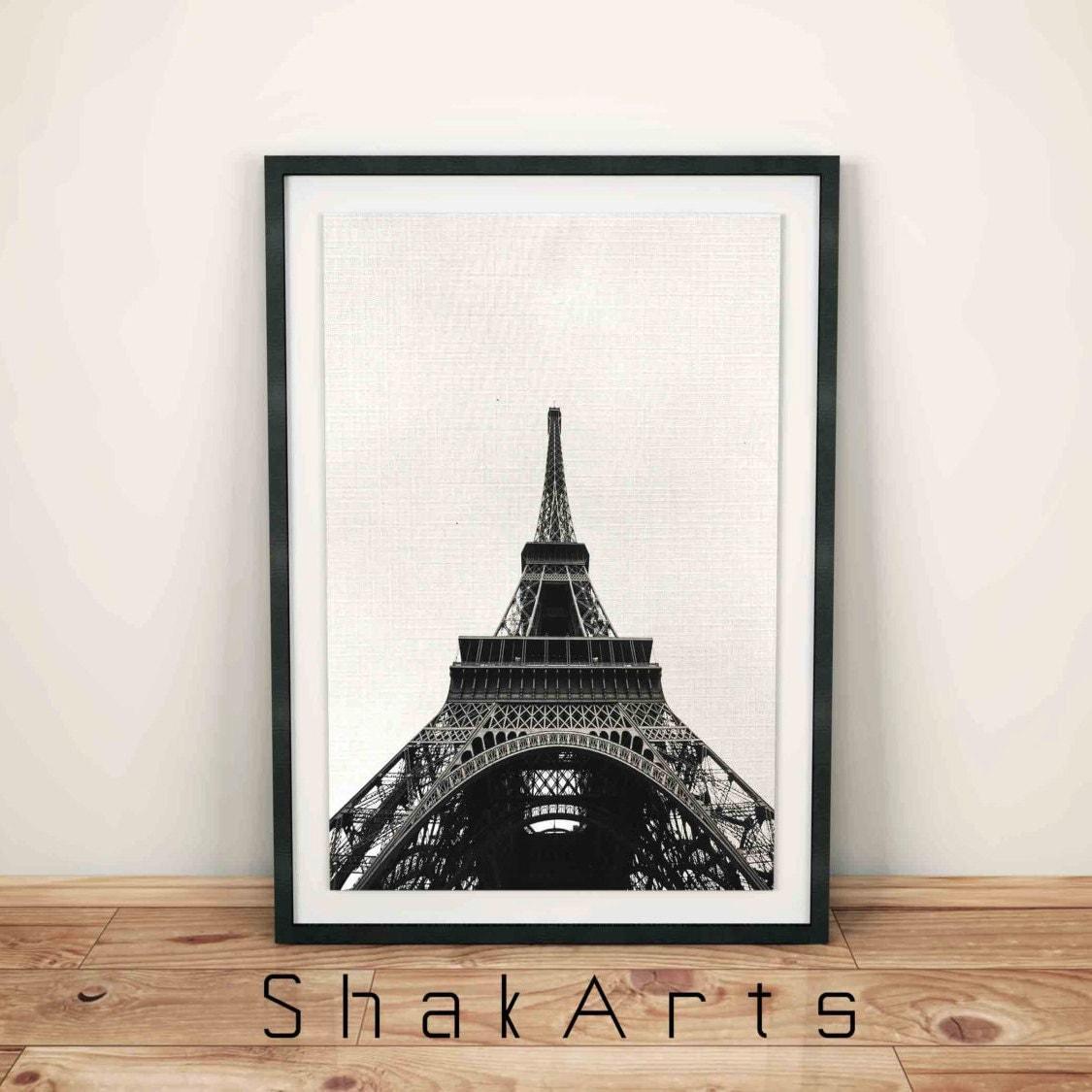 Eiffel tower print paris wall decor paris photo black and for Eiffel tower wall mural black and white