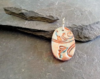 Peach and Aqua Polymer Clay Oval Pendant with Sterling Silver Bail