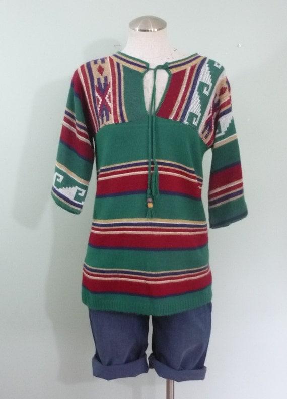 1970s Southwestern Sweater / Tunic Length, Jewel Tone Knit Top / Asymmetrical Striped Pullover / Pandora / Modern Size Small to Medium