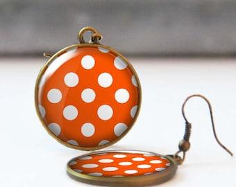 Polka dot earrings, Rockabilly Jewelry, Orange picture earrings, Round dangle earrings, Resin Jewelry, Gift for her, Retro 50's earrings