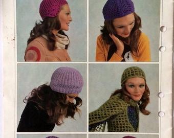 1970s vintage crochet and knitting pattern booklet Patons 990, 70s retro, boho, hippie 12 hats & caps, plus bolero, scarf, women, one size