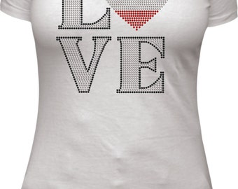 Love France rhinestone tee shirt