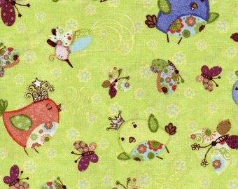 Baby Fabric - 1 Yd - Nighty Night Owl - Green - Wilmington Prints