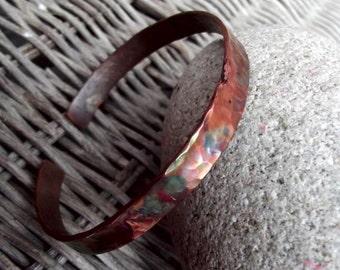 Copper bracelet, copper men bracelet, burned men bracelet, rustic men bracelet, rustic cuff.