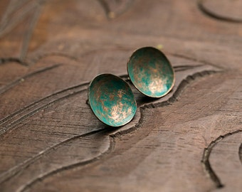 Stud earrings Copper earrings Silver stud Turquoise patina earrings Sterling silver Hammered copper Metalwork jewelry Simple earrings