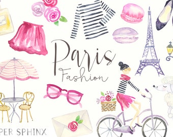 Watercolor Paris Clipart | Fashion Clip Art - Planner Clipart - French Clothes - Eiffel Tower - Digital Instant Download PNG files
