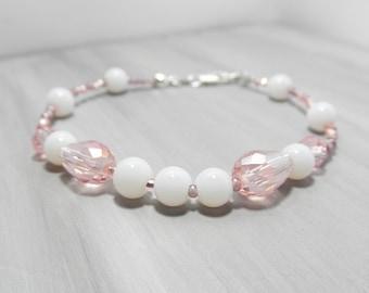 Romantic Pink Swarovski bracelet, White jade bracelet, Gemstone bracelet, Beach jewelry, sterling silver, Gift for her