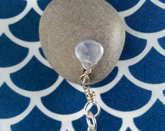 Lake Michigan Stone Necklace with Chalcedony Briolette, OOAK