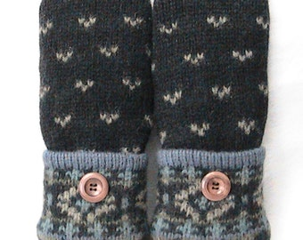 Handmade Felted Wool Sweater Mittens