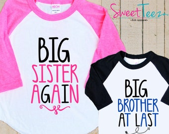 Big Sister Again Shirt Set Arrow Big Brother At Last Shirt SET black pink Raglan 3/4th Sleeve Shirt Toddler Youth