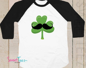 Shamrock Shirt St Patrick's Day Shirt Mustache shirt Boy Hipster Black Raglan 3/4th Sleeve Shirt Toddler Youth Shirt