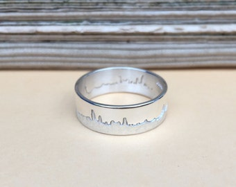 Personalised Silver City Skyline Ring
