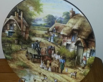 """Wedgwood plate, limited edition, country edition, """"early morning milk"""", fine bone china"""