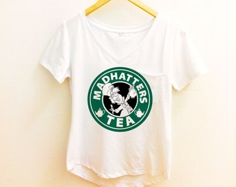 Mad Hatter Starbucks Shirt - Alice in Wonderland Mad Tea Party Pocket Tee Sleeve Women - Disney Tumblr S, M, L, XL