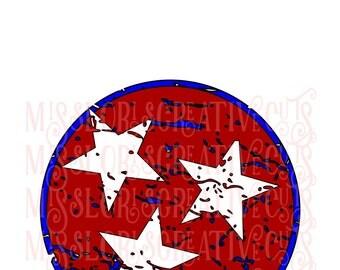 Circle 3 stars distressed Patriotic  SVG Cut file  Cricut explore filescrapbook vinyl decal wood sign cricut cameo Commercial use