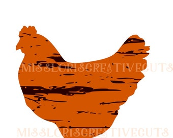 Chicken distressed  SVG   cut file  t-shirts  animalsscrapbook vinyl decal wood sign cricut cameo Commercial use