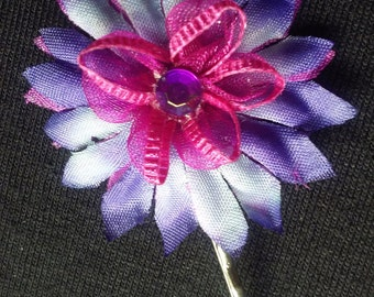 Pink & Purple Flower Hair Pin