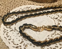 """Vintage Trifari beaded chain link necklace 